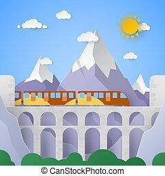 fjäll landskap, med, akvedukt, och, railway., vektor, papper, illustration