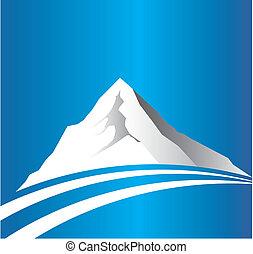 fjäll, med, väg, logo, avbild