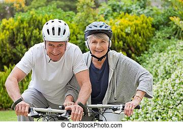 fjäll, par, cykla, mogna,  outsi