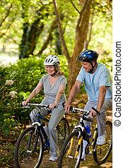 fjäll, par, oppositionen, cykla, äldre