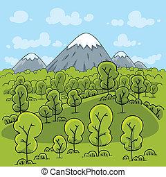 fjäll, skog