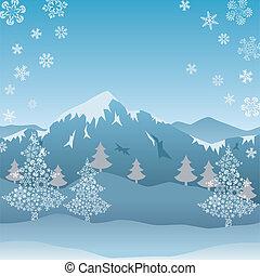 fjäll, snö