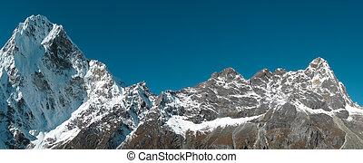 fjäll, snöig, panorama