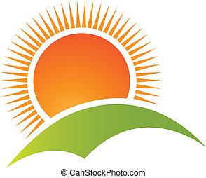 fjäll, sol, logo, vektor, kulle