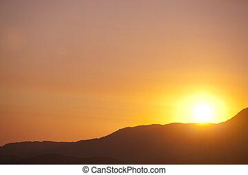 fjäll, solnedgång