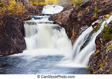 fjäll ström, waterfall., fasta, höst, water., landskap