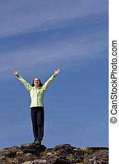 fjäll toppa, kvinna, prestation, fira