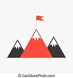 fjäll toppar, med, flagga