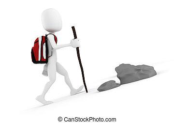 fjäll, turist, stor, ryggsäck, klättrande, man, röd, 3