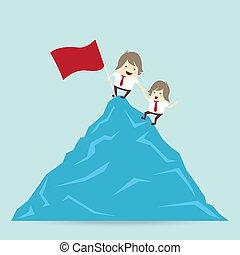 fjäll, vän, hjälp, framgång, vinna, topp uppe, affär, flagga, begrepp, affärsman, röd