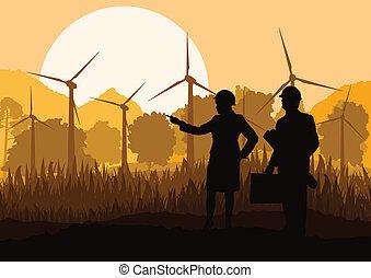 fjäll, vindmotorer, ekologi, natur, elektricitet, män, ...