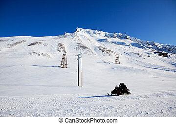 fjäll, vinter landskap