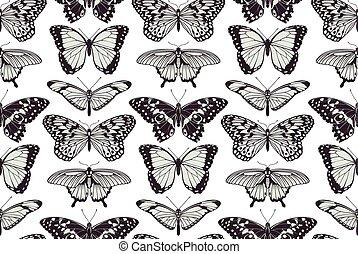 fjäril, årgång, seamless, bakgrund