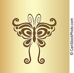 fjäril, årgång, vektor, logo