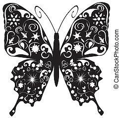 fjäril, abstrakt