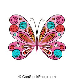 fjäril, bakgrund., vit, vektor, illustration.