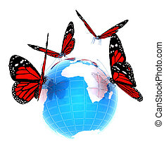 fjäril, blå, abstrakt, röd värld