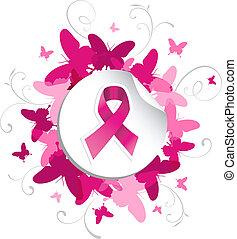 fjäril, cancer, bringa medvetenhet