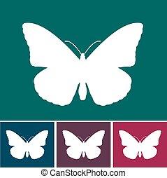 fjäril, design, samtidig