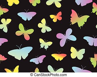 fjäril, färgrik, mönster, seamless, illustration, vektor, bakgrund
