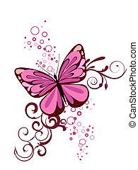 fjäril, färgrik