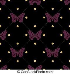 fjäril, guld, mönster, seamless, bakgrund, violett, origami, glitter, punkt