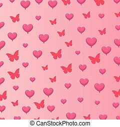 fjäril, hjärtan, fond mönstra