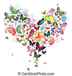 fjäril, illustration., hjärta, valentinbrev, formge ...