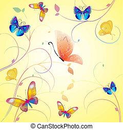 fjäril, kollektion, vektor