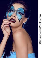 fjäril, kvinna, konst, göra, smink, uppe, ansikte, mode, portrait.