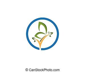 fjäril, logo, design, grön