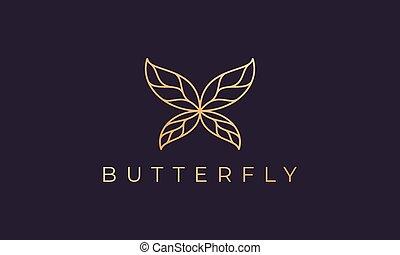 fjäril, logo, luxuös, guld, mall, form