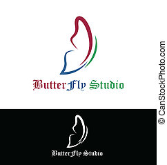 fjäril, logo, vektor