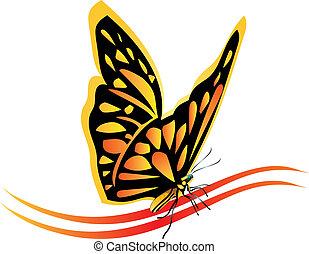 fjäril, logo, vektor, monark