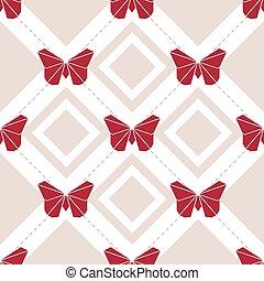 fjäril, mönster, seamless, bakgrund, origami, röd