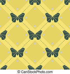 fjäril, mönster, seamless, gula gröna, bakgrund, origami, glitter, silver, punkt