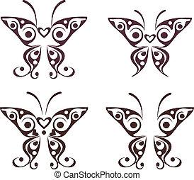 fjäril, mönster, tatuera