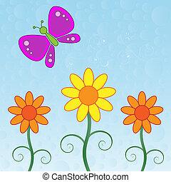 fjäril, och, blomningen
