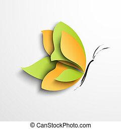 fjäril, papper, grön, gul