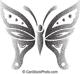 fjäril, punktera, verkan