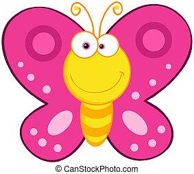 fjäril, söt, tecken, tecknad film