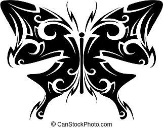 fjäril, tatuera