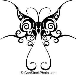 fjäril, tatuera, stam