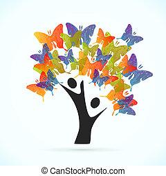 fjäril, träd
