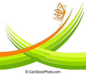 fjäril, vektor, grön, illustration, vågor