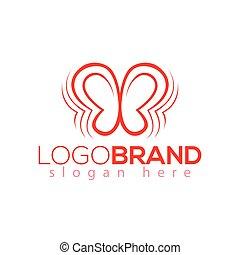 fjäril, verkan, vektor, mall, logo, element.