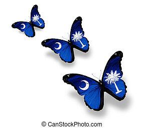 fjärilar, isolerat, tre, flagga, vit, södra carolina