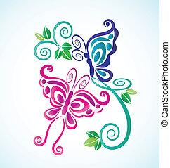 fjärilar, ram, bakgrund