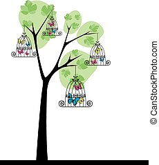 fjärilar, träd 3