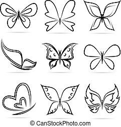 fjärilar, vektor, grupp